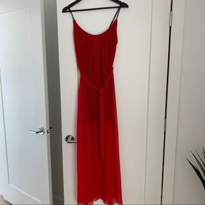 Forever 21 Chiffon Red Maxi Dress.